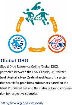 Global Drug Reference Online (Global DRO), partnered with the UK, Canada, the US and Japan, is a system that enables users to search for prohibited substances based on the latest Prohibited List and the status of brand information for respective countries.
